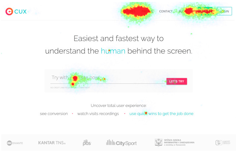 Heatmaps - picture of the hottest spots on your website